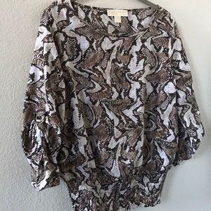 Michael Kors brown & beige animal print blouse
